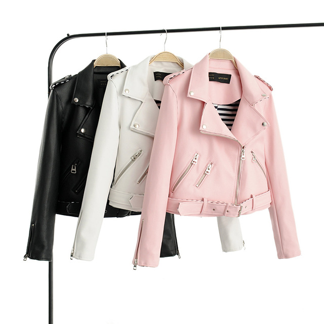 9334087a6f4 Brand Motorcycle PU Leather Jacket Women Winter And Autumn New Fashion Coat  4 Color Zipper Outerwear jacket New PINK Coat HOT