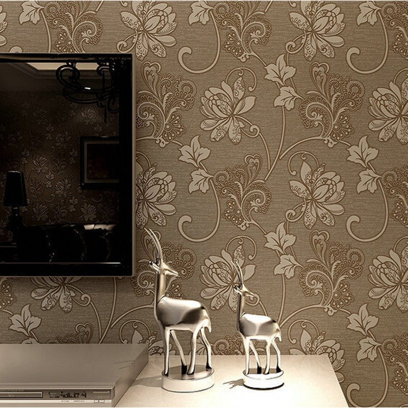 aliexpresscom buy 3d gold wallpaper for walls roll vintage design bedroom  sitting room european style damascus. modern grey floral wallpaper design for living room with tv wall