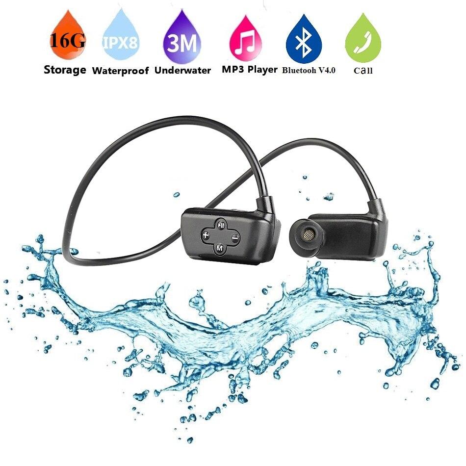 Multifonction 4-en-1 IPX8 étanche sport lecteur MP3 Bluetooth mains libres casque avec mémoire 16G pour natation plongée en cours d'exécution