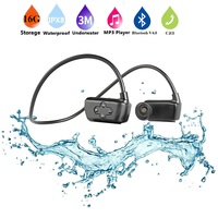Multifunction 4 in 1 IPX8 Waterproof Sports MP3 Player Bluetooth Handsfree Headphone with 16G Memory for Swimming Diving Running
