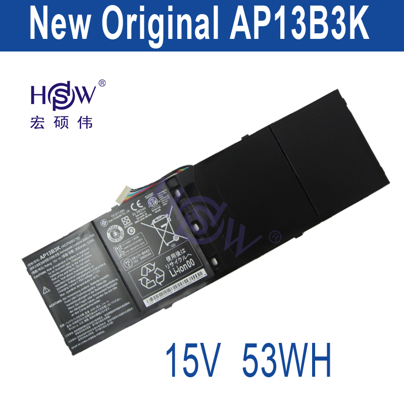 HSW Laptop Battery for Acer Aspire R7 M5-583p Series Ap13b3k Ap13b 4lcp6/60/80 3560mah 15v bateria akku original new al12b32 laptop battery for acer aspire one 725 756 v5 171 b113 b113m al12x32 al12a31 al12b31 al12b32 2500mah
