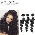 Extensión brasileña Virginal del pelo Natural de color Estilo de la Estrella Del Pelo Brasileño Suelta la Onda Del Pelo Humano 3 unids Malibu Dollface Bundles Cabello