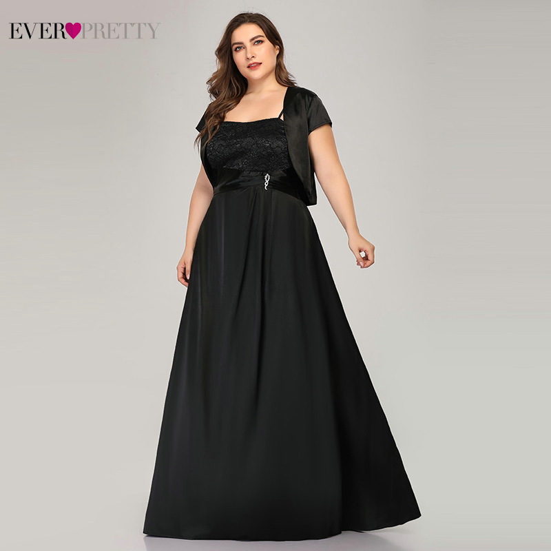 Vestidos Compridos Ever Pretty Plus Size Black Evening Dresses A-Line Short Sleeve Elegant Long Formal 2019