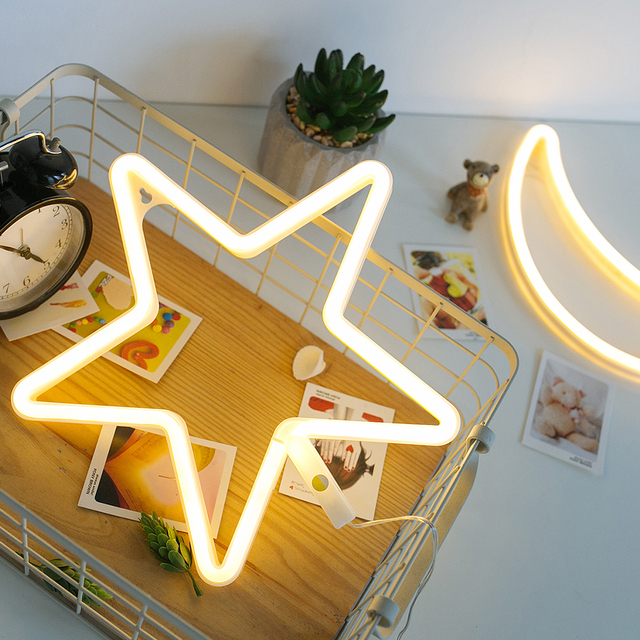 Amagle LED Neon Sign Star Neon Lamp Battery/ USB Powered Wall Light Room  Decor Shop Decoration Photography Prop Night Lamp