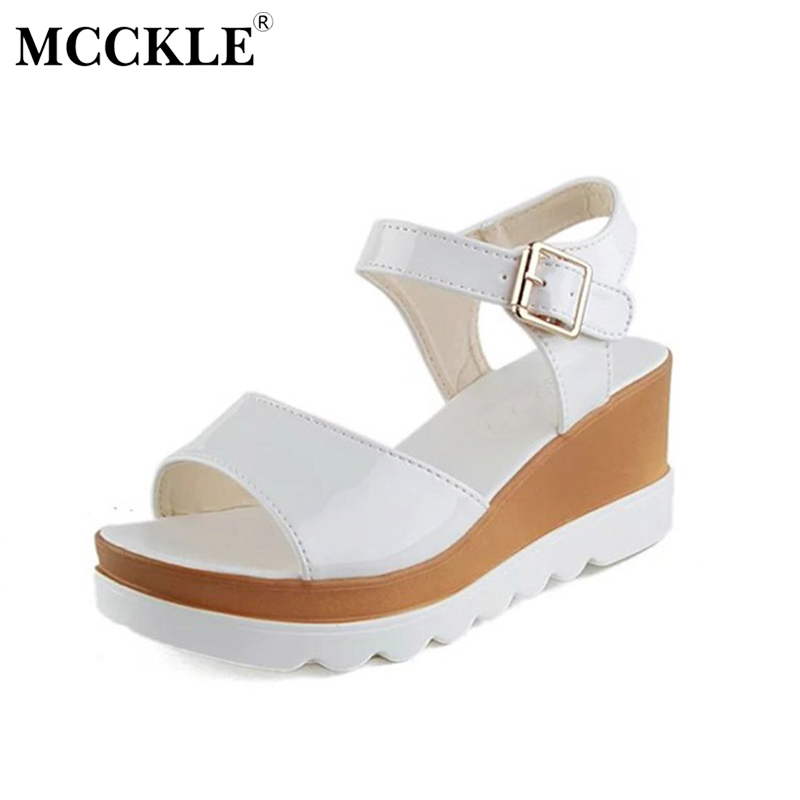MCCKLE 2017 Fashion Women Shoes Sandals Woman Platform Buckle Patent Leather Ladies Sexy Office Black Casual Comfortable mcckle 2017 fashion woman shoes flat women platform round toe lace up ladies office black casual comfortable spring