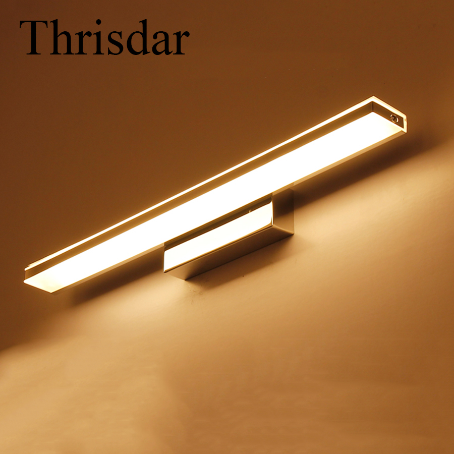 Thrisdar 12W 52CM Acrylic Bathroom Front Mirror Light Anti-fog Toilet Wall Mounted Bedroom Aisle Wall Fixture Sconce Lamps modern acryl aluminum 4 heads led 12w mirror lamps for bathroom aisle 65cm waterproof ip65 anti fog indoor wall lamps 1184