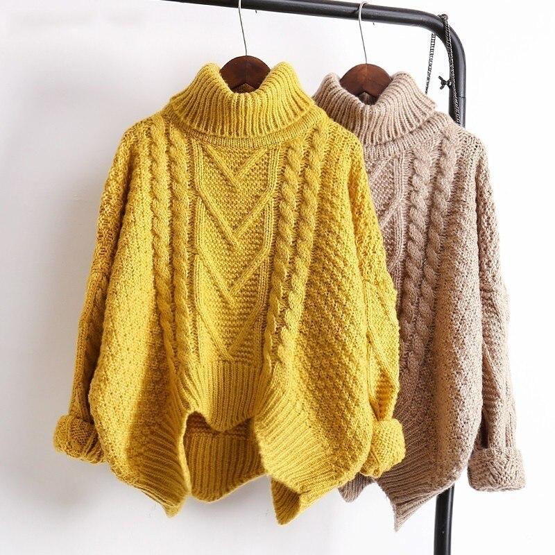 LANMREM Spring Autumn 2019 Solid Color Hot Sale Turtleneck Long Sleeve Knitting Pullover Keep Warm Sweater  Women M41003