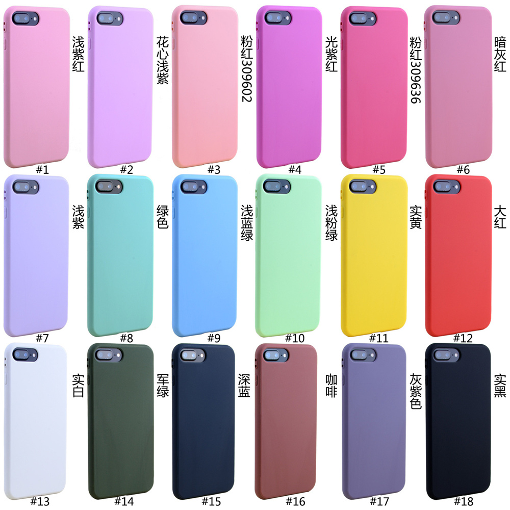 separation shoes 4bb60 b3333 For Iphone 7 7 Plus Case Simple Lovely Candy Solid Color Pink Blue Soft TPU  Phone Cases For Iphone X 6 6S 8 Plus Case Back Cover