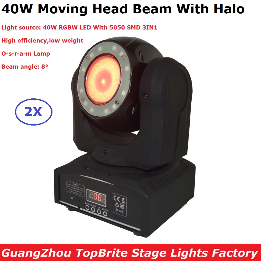 Carton Package 2XLot 40W RGBW Quad Color LED Moving Head Lights 8 Degree Beam Angle Low Weight For Party Wedding Discos