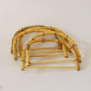 Image 3 - 10 sztuk za dużo rozmiar 18.5X12.5 CM natura kolor bambusowa torba uchwyt DIY akcesoria torebkowe drewniane trzciny torebka rama chiny Online