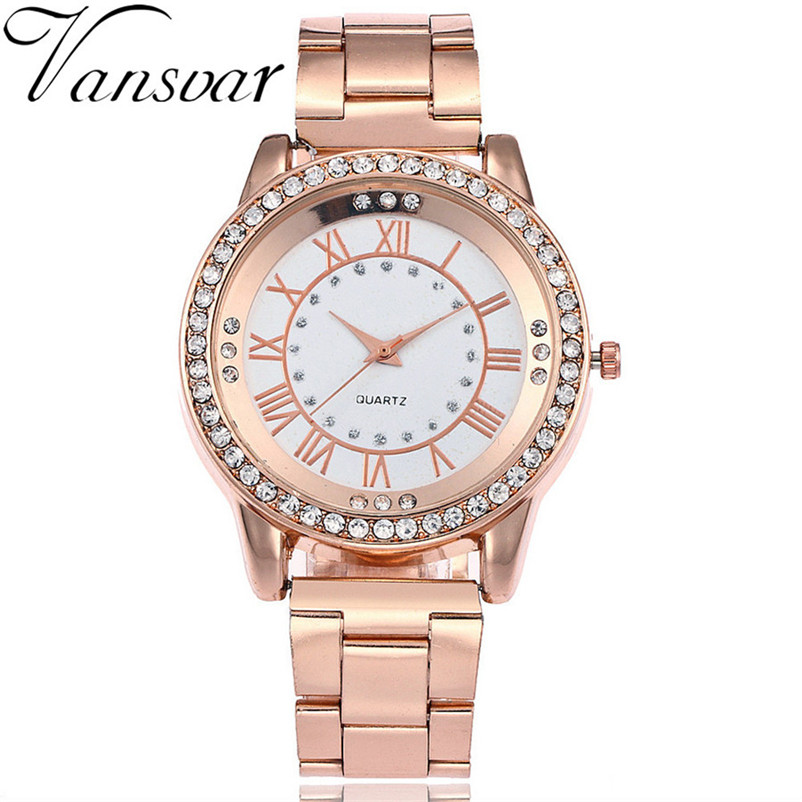 Vansvar Brand Gold Watch Luxury Women Dress Rhinestone Quartz Watch Casual Women Stainless Steel Wristwatches Female Clock erkek new fashion watch women luxury brand quartz watch women stainless steel dress bracelet wristwatches hours female clock xfcs