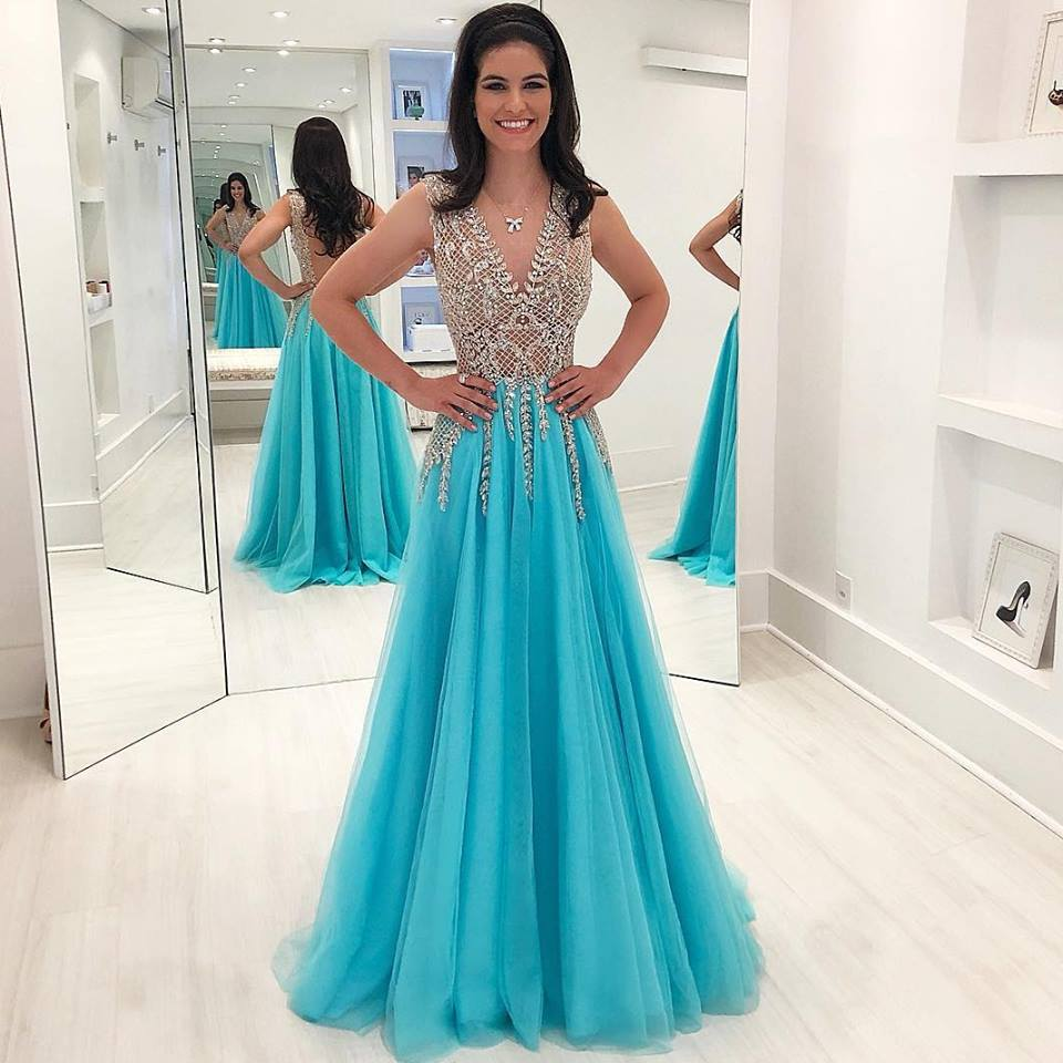 Gorgeous Beading Crystal Long   Prom     Dresses   2019 Sexy Backless Sleeveless Evening   Dresses   Custom Make Party   Dress   Robe De Soiree