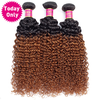 TODAY ONLY Ombre Brazilian Hair Weave Bundles Kinky Curly Weave Human Hair 3 Bundles Remy Human Hair Extensions Two Tone 1b 30