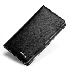New Litchi Lines Long Men Wallet High Quality Pu Leather Fashion Casual Clutch Wallets Black Coffee Zipper Designer Wallet Male