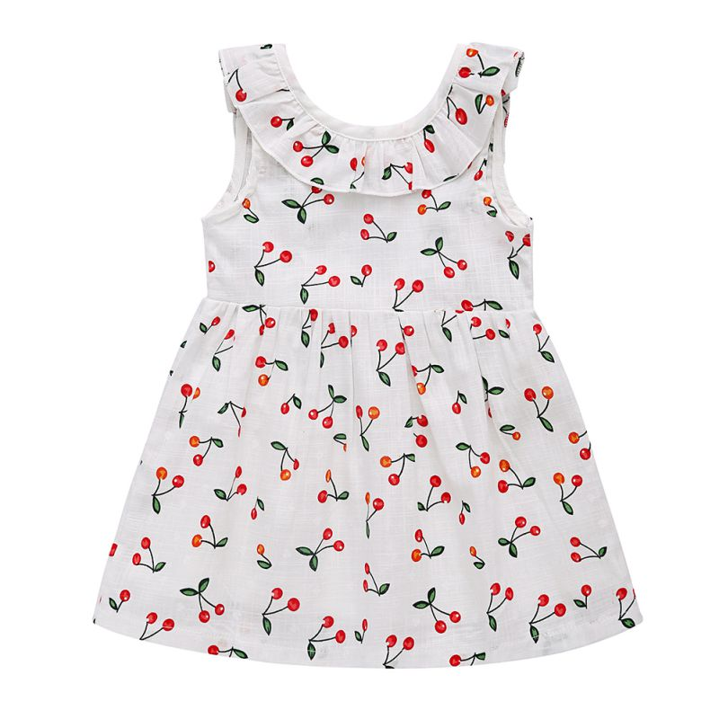 Baby Girls Summer White Color Sleeveless Lovely Cherry Blossom Vest Princess Style Bowknot Mini Dress