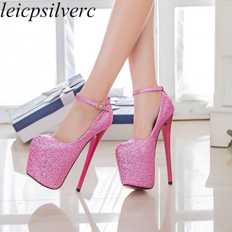 Women Pumps Shoes Super High Heels Sexy New Fashion Thin Heels Platform 2019 Spring Autumn Buckle