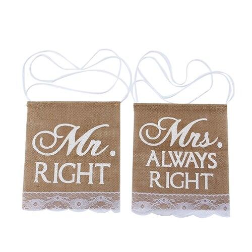 Свадебная вечеринка хаки Mr Right & Mrs всегда прав шаблон стул знак Бантинг Баннер Сельский Кружевной декор Мешковина (Цвет: хаки)