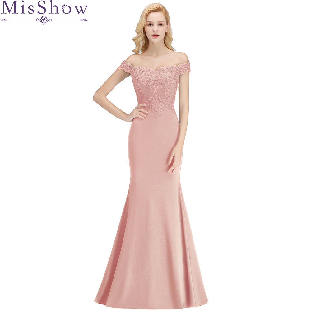 Misshow Mermaid Evening Dress 2019 Pink Long Formal Party Gown Elegant Off The Shoulder Applique Robe De Soiree