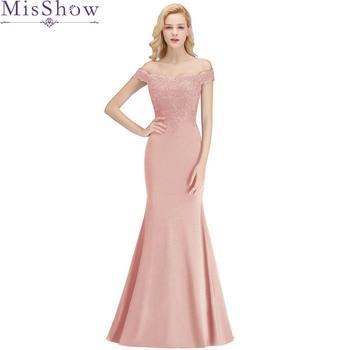 Misshow Mermaid Evening Dress 2019 Pink Long Formal Party Gown Elegant Off The Shoulder Applique robe de soiree 2019 mermaid long evening dress off the shoulder applique evening gown robe de soiree