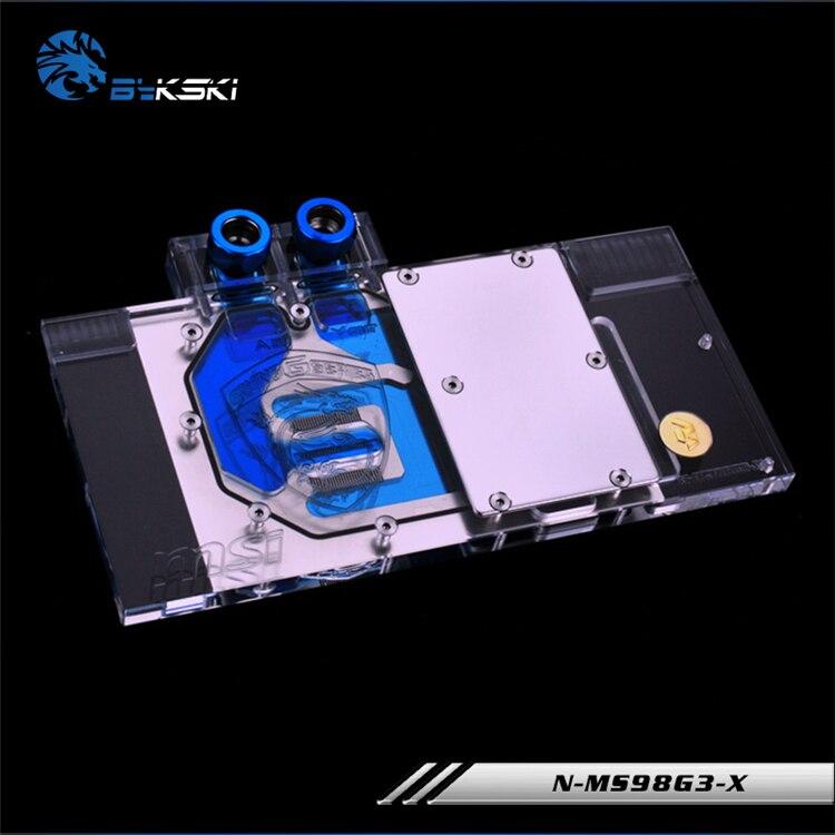 Bykski cache complet bloc carte graphique utilisation pour MSI GTX980 GAMING 4G/GTX 980Ti Gaming 6G cuivre radiateur RGB Support à AURA