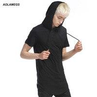 Aolamegs T gömlek Erkekler Hoodie T Shirt Genişletilmiş Yan Fermuar Tee gömlek Homme Basit Stil Casual Yaz Yeni erkek Pamuk Üstleri Tee