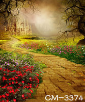 10x20FT Vinyl photography backdrops Beautiful fowers country road computer Printing Vinyl cloth castle background
