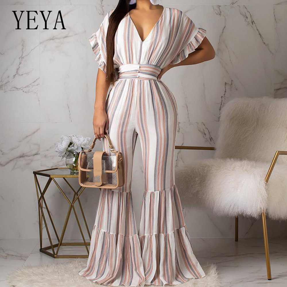 YEYA Sexy Deep V Neck Casual Rompers Womens Jumpsuit Ladies Wide Leg Loose Beach Playsuits Summer Night Party Club Overalls in Jumpsuits from Women 39 s Clothing