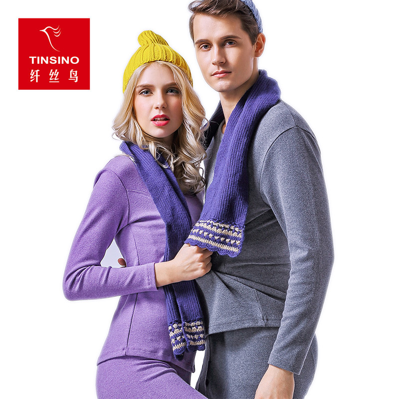 Thin Section Couple Models Thermal Underwear Comfortable Velvet Lace Round Neck Single Men and Women Long Johns Suit