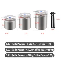 Pumpable Type Vacuum Food Container Stainless Steel Transparent Lid Kitchen Storage Bottles Jars for coffee bean