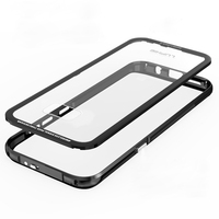 Aluminum Metal Bumper For Samsung Galaxy S8 Case S8 Plus Transparent Clear Tempered Glass Back Cover