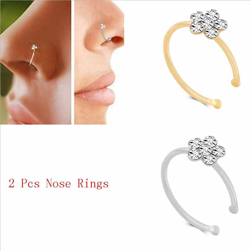 Stainless Steel Gold Color Flower Nose Open Hoop Ring Earring Body Piercing Crystal Nose Studs Women Studs Fashion