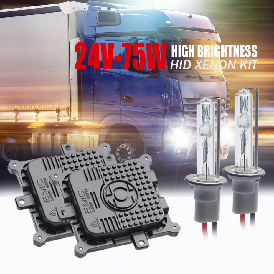 Camion 24V75W HID phare haute puissance xénon kit H7 H1 H3 H8 H11 D2H 9005 hid xénon kit hid ballasts voiture lumière 4300 K 6000 K 8000 K