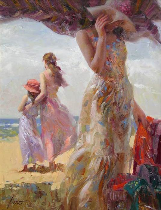 Canvas Art Modern,Beach Umbrella by Pino Daeni Painting, Beautiful Woman ,Home Decor,hand-painted,high quality