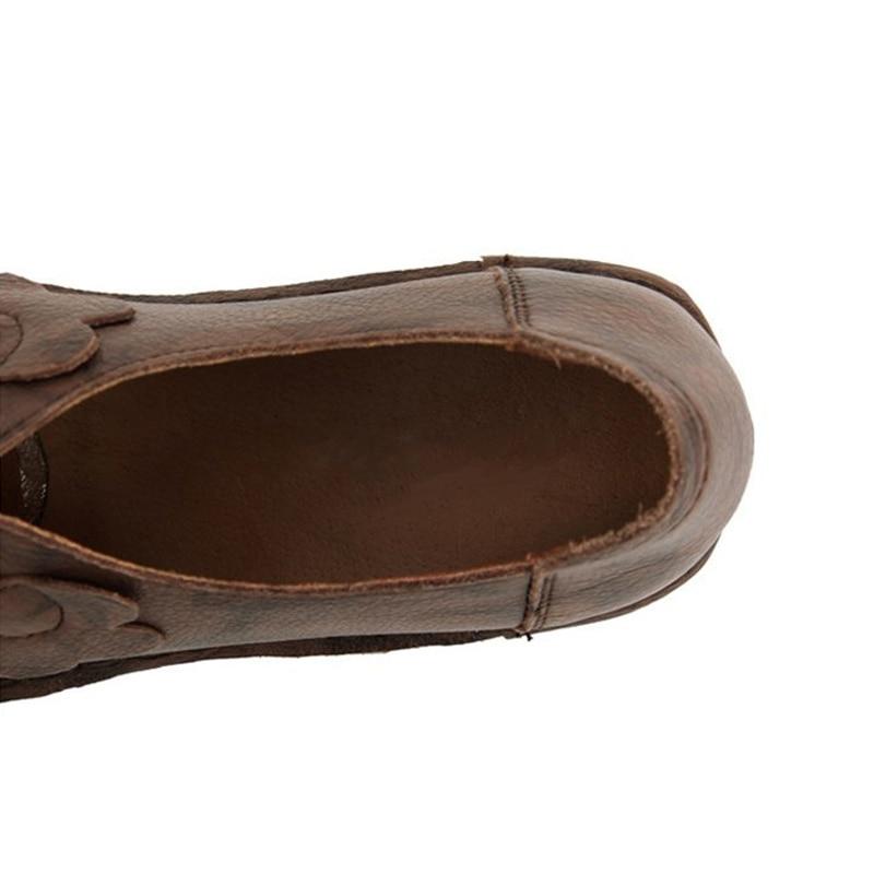CEYANEAO Retro Handmade Loafers Echtes Leder Schuhe Frau Slip-On Fashion Casual Schuhe Atmungsaktivem Frauen FlatsE1172