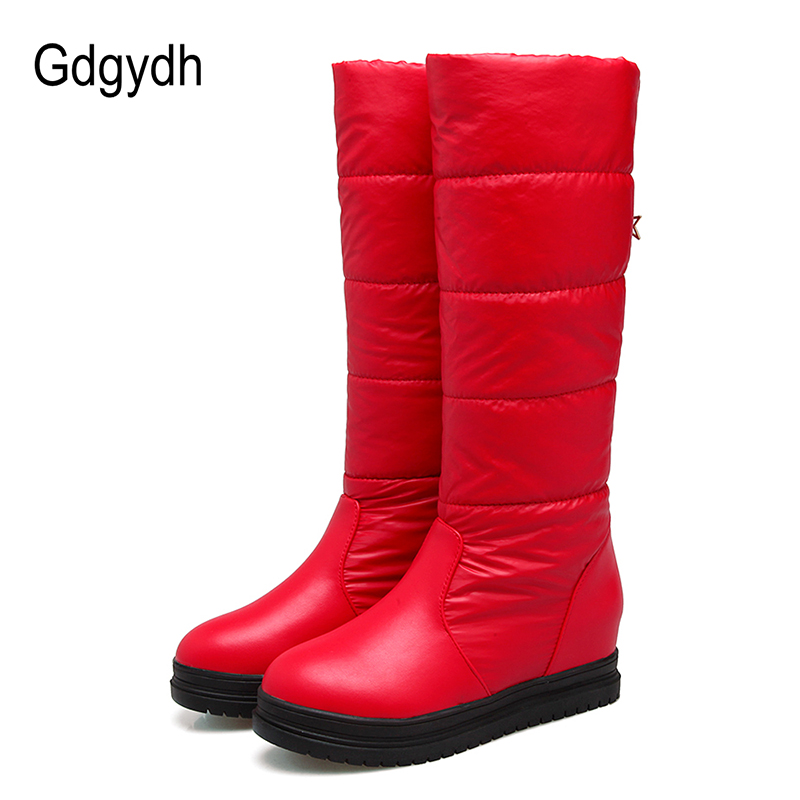 Gdgydh Russia Keep Warm Snow Boots Women Waterproof Winter Shoes Height Increasing White Platform Fur Boots Ladies Big Size купить дешево онлайн