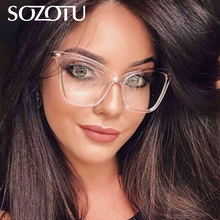 SOZOTU Spectacle Frame Eyeglasses Women Computer Optical Prescription Cat Eye Glasses Frame Ladies For Female Clear Lens YQ539