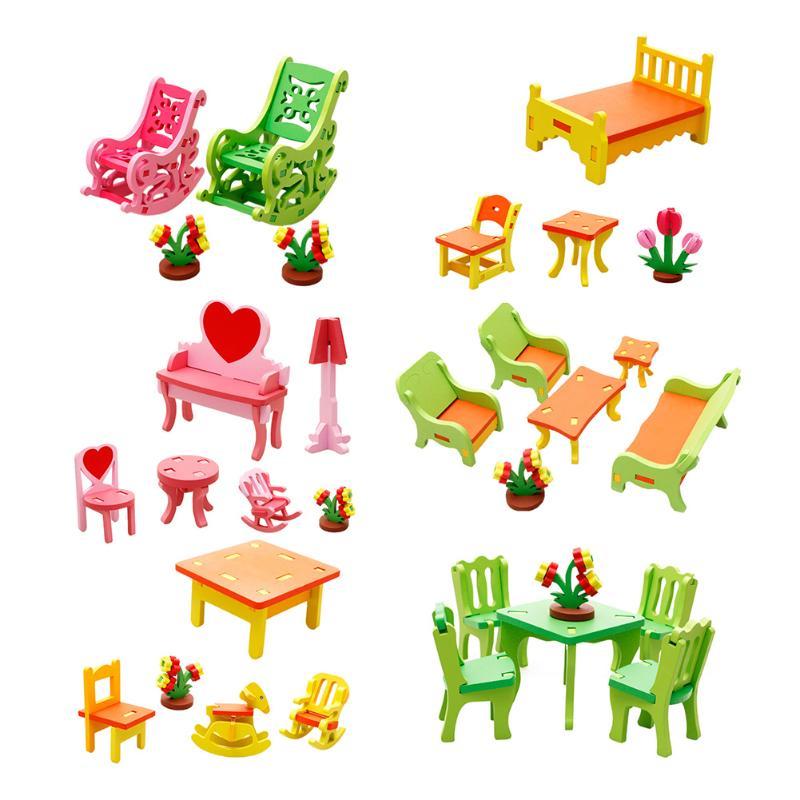 Houten 3d Diy Vergadering Meubels Puzzel Speelgoed Meubelen Tafels Stoelen Bed Model Handwerk Building Puzzel Baby Educatief Speelgoed