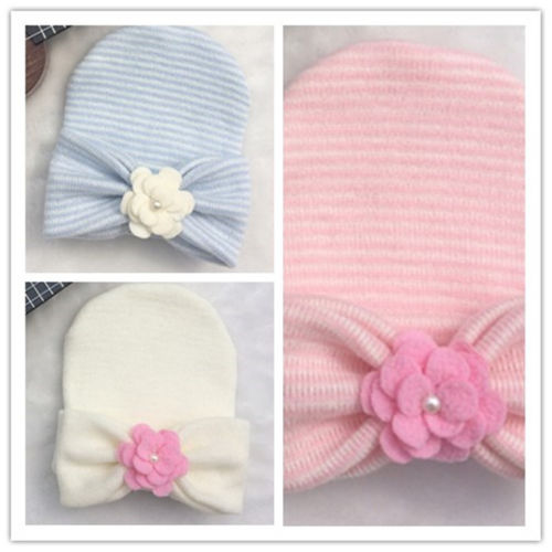 Emmababy Cute Newborn Baby Infant Girl Toddler Comfy Bowknot Hospital Cap Beanie Hat