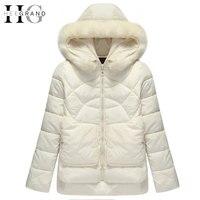 HEE GRAND 2016 Warm Cotton Fur Hooded Women Parkas Thick Down Mulheres Casaco De Inverno Short