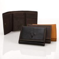 3 Fold Hasp Wallets Casual Vintage 100 Genuine Leather Hasp Men Cowhide Mini Short Billfold Money
