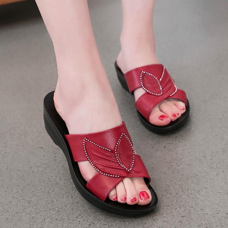ZIMNAFR NEW GENUINE LEATHER SANDALS WOMEN SLIPPERS SUMMER SHOES SUMMER ANTISKID SOFT BOTTOM FLAT MOTHER SLIPPERS WOMEN SANDALS