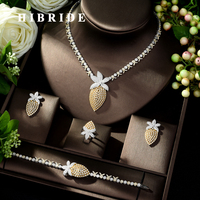 HIBRIDE Classic Fashion Necklace Earring Jewelry Set AAA+ Zirconia Paved Dubai 4pcs Wedding Jewellery Set for Anniversary N 1021
