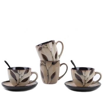 Filiżanka kawy filiżanka prosta w stylu europejskim ceramiczna filiżanka do kawy osobowość filiżanka kawy z łyżeczką spodka o dużej pojemności kubek wody tanie i dobre opinie CF-008 Dwuczęściowy zestaw 260ml 380ml 132*88mm 75*95mm Logistics packaging coffee milk tea water Glossy Glaze Gold Painting