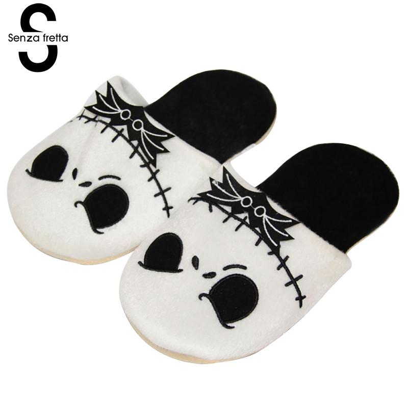 Senza Fretta Winter Warm Cotton Slippers Christmas Skull Pattern Plush Slippers Indoor Women Couples Warm Slippers Plus Size senza fretta winter slippers home warm cotton slippers with bag heel animal pattern plush warm home slippers cute women shoes