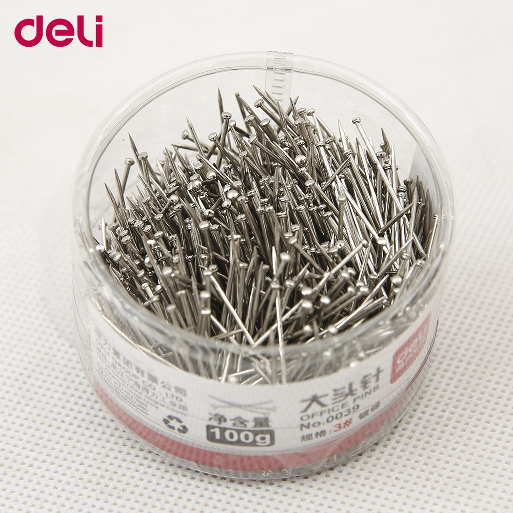 Deli Standard Pins 100g Per Box Metal School And Office Supplies 3#
