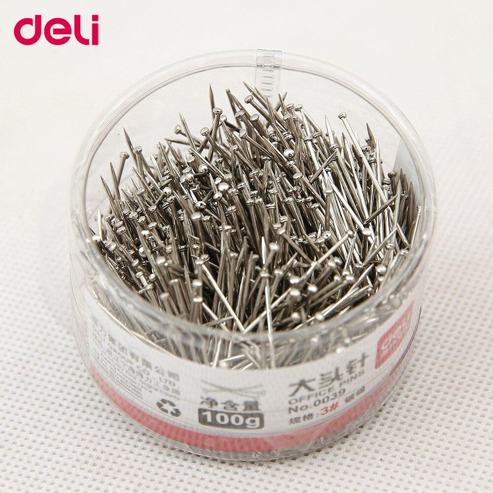 Deli Standard Pins 100g Per Box Metal School And Office Supplies 3#