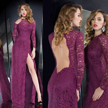 Hollow Back Long Sleeve Purple Lace Evening Drssses