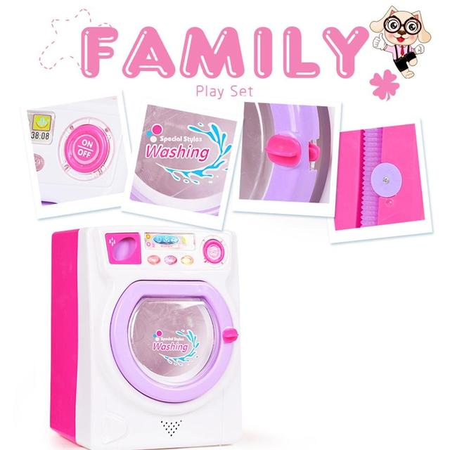 RCtown Children Play House Game Toy Simulation Washing Machine Electric Toy with Light Sound random color zk30 3