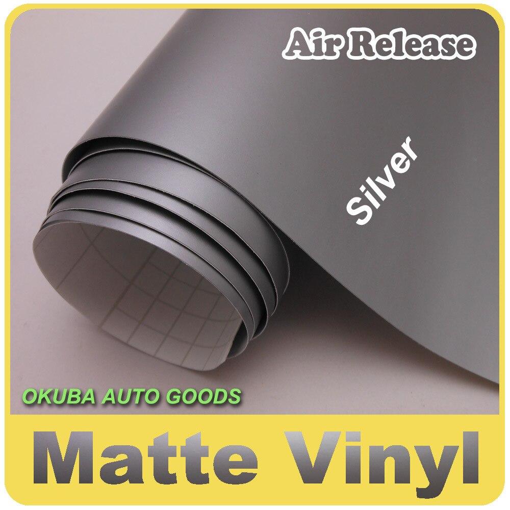 Excellente voiture argentée mate enveloppe le vinyle avec la bulle d'air libre taille: 1.52*30m épaisseur: 0.13mm