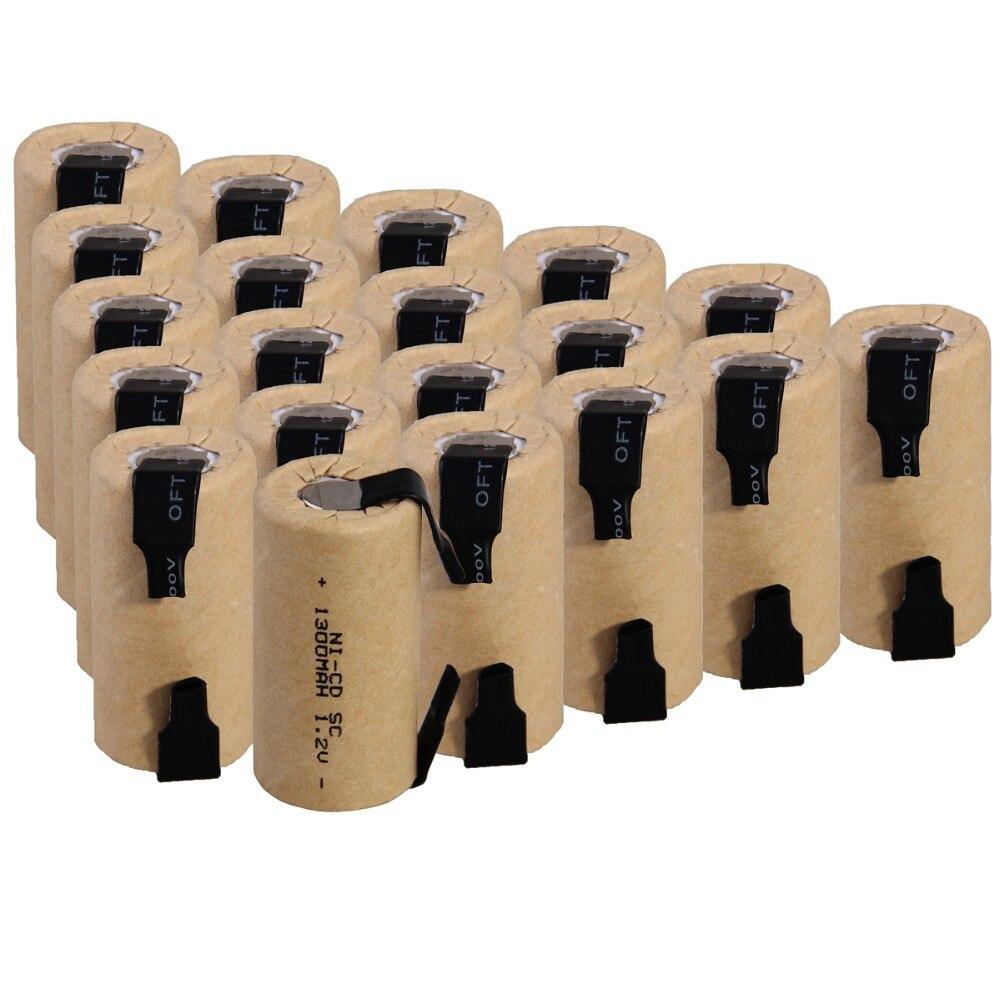 20 pièces SC 1300 mah 1.2 v batterie piles rechargeables NICD pour tournevis électrique perceuse électrique 4.25 cm * 2.2 cm pour outils électriques